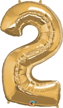 "Number 2 Giant Foil Balloon - Metallic Gold 34"""