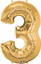 "Number 3 Giant Foil Balloon - Metallic Gold 34"""