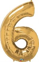 "Number 6 Giant Foil Balloon - Metallic Gold 34"""