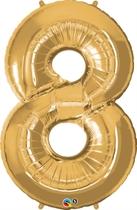 "Number 8 Giant Foil Balloon - Metallic Gold 34"""