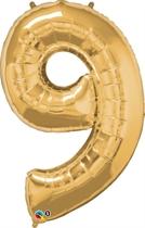 "Number 9 Giant Foil Balloon - Metallic Gold 34"""