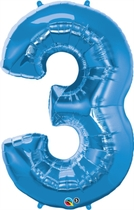 """Number 3 Giant Foil Balloon - Sapphire Blue 34"""""""