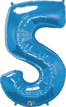 """Number 5 Giant Foil Balloon - Sapphire Blue 34"""""""