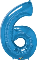 """Number 6 Giant Foil Balloon - Sapphire Blue 34"""""""