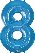 """Number 8 Giant Foil Balloon - Sapphire Blue 34"""""""