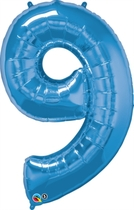 """Number 9 Giant Foil Balloon - Sapphire Blue 34"""""""