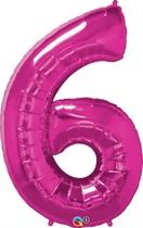 "Number 6 Giant Foil Balloon - Magenta 34"""