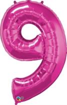 "Number 9 Giant Foil Balloon - Magenta 34"""
