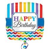 "Happy Birthday Stripes Square 18"" Foil Balloon"