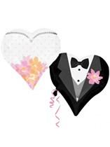 "Wedding Couple Heart SuperShape Foil Balloon 30"""