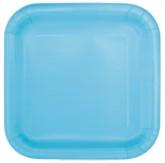 """Light Blue 7"""" Square Paper Plates 16pk"""