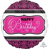 "Happy Birthday Pink, Black & White 18"" Foil Balloon"