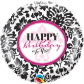 "18"" Happy Birthday Damask Black & Pink Foil Balloon"