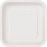 "Bright White 9"" Square Paper Plates 14pk"