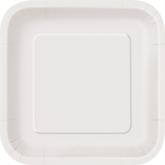"Bright White 7"" Square Paper Plates 16pk"