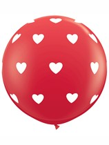 Red & White Big Hearts 3ft Latex Balloons 2pk