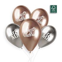"Shiny Rose Gold & Silver Wedding 12"" Latex Balloons 5pk"