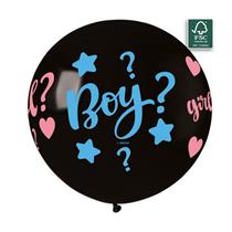 "Gender Reveal 31"" (2.5ft) Latex Balloon + Confetti"