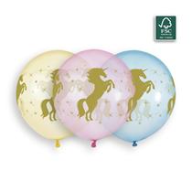 "Golden Unicorn Crystal 19"" (1.5ft) Latex Balloons 3pk"