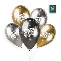 """Shiny Sparkling Happy Birthday 12"""" Latex Balloons 5pk"""
