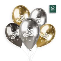 """Shiny Happy Anniversary 12"""" Latex Balloons 5pk"""