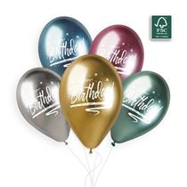 """Shiny Happy Birthday 12"""" Latex Balloons 5pk"""