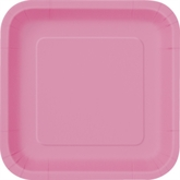 """Hot Pink 9"""" Square Paper Plates 14pk"""