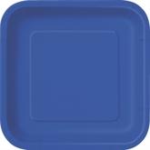 """Royal Blue 9"""" Square Paper Plates 14pk"""
