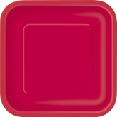 """Ruby Red 9"""" Square Paper Plates 14pk"""