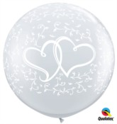 Entwined Hearts 3ft Clear Latex Balloons 2pk