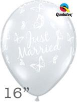 "Diamond Clear Just Married Butterflies 16"" Latex Balloons 50pk"