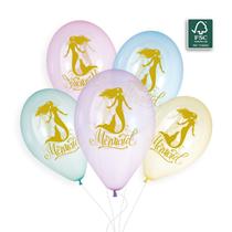 "Golden Mermaid Crystal 12"" Latex Balloons 5pk"