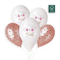 "Meow Cat & Dots 12"" Latex Balloons 5pk"
