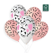 "Panda Hearts & Sticks 13"" Latex Balloons 5pk"