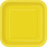 "Sunflower Yellow 7"" Square Paper Plates 16pk"