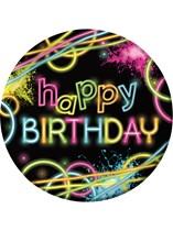 Glow Party Happy Birthday Paper Plates 8pk