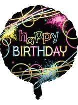 "Glow Party Happy Birthday 18"" Foil Balloon"