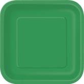 """Emerald Green 9"""" Square Paper Plates 14pk"""