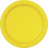 """Sunflower Yellow 7"""" Round Plastic Plates 12pk"""
