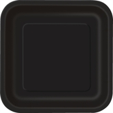 "Midnight Black 7"" Square Paper Plates 16pk"