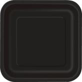 "Midnight Black 9"" Square Paper Plates 14pk"