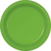 """Lime Green 10"""" Large Round Plastic Plates 6pk"""