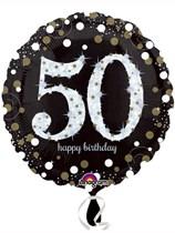 "50th Birthday Black & Gold Celebration 18"" Foil Balloon"