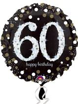 "60th Birthday Black & Gold Celebration 18"" Foil Balloon"