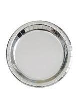 "Foil Silver 7"" Round Paper Plates 8pk"