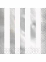 Foil Silver Stripe Luncheon Napkins 16pk