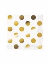 Foil Gold Polka Dot Beverage Napkins 16pk