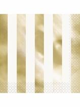 Foil Gold Stripe Luncheon Napkins 16pk