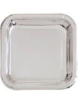 "Foil Silver 9"" Square Paper Plates 8pk"