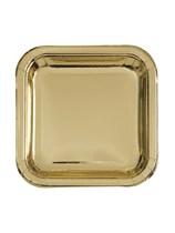 "Foil Gold 7"" Square Paper Plates 8pk"